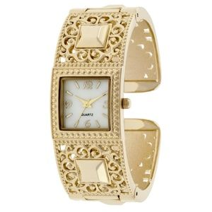 Ladies Gold Pattern Bangle Watch
